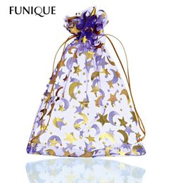 $enCountryForm.capitalKeyWord NZ - FUNIQUE 25PCs 13cm x18cm Purple Moon&Star Organza Gift Bags Pouches Wedding Christmas For Jewelry Packaging New Year Gift