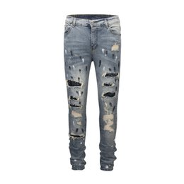 decorated pencils 2018 - 2 Colors High Street Mens Jeans Broken Washed Beads Decorate Jeans Homme Holes Panalled Denim Pencil Pants cheap decorat