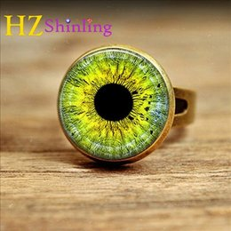 Eye Ring Accessories NZ - NRC--0013 New Style Green Eye Ring Glass Dome Art Photo Adjustable Rings Antique Brass Jewelry Glass Cabochon Handcrafted Accessory
