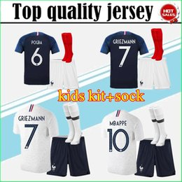 7d700a102 2018 World Cup GRIEZM kids kit pogba soccer Jersey 18 19 PAYET DEMBELE  MBAPPE GRIEZMANN KANTE national team football shirts COMAN AWAY white
