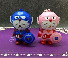 $enCountryForm.capitalKeyWord NZ - New Doraemon Keychain Figure Movie Captain America Key Chain Light-up Sound Car Ring Creative Gifts