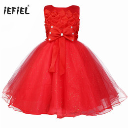 red little girl dresses UK - Cute Little Girls Children Prom Ball Gown Lotus Flower girls dress sleeveless Pageant Bridesmaid Wedding princess party dress