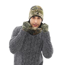 2018 Men Women Winter Hats Scarves Gloves Set Brand 3pcs Thick Knitted Hat  Scarf For Male Female Beanies Accessories Camouflage 07d460538e79
