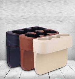 Color Leather Bags Australia - Storage Box Bag Car Seat Organizer Catcher Space Store gap Leak-Proof seam black PU leather black cream brown color option