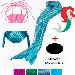 Discount mermaid suit for swimming - 2018 Ariel Little Mermaid Tails for Swimming Costume Mermaid Tail Cosplay Girls Swimsuit Kids Children Swimmable suit