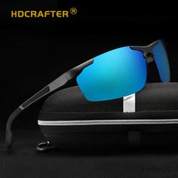 Ingrosso Occhiali da sole da uomo in alluminio di magnesio di qualità calda per occhiali da sole in resina polarizzata 70mm Occhiali da sole UV400 HDCRAFTER L6588 con custodia