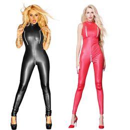 Black Red Zipper Open Crotch Bust Faux Leather Bandage Bodysuit Women Sexy  Sleeveless Jumpsuit Wetlook Latex Catsuit Plus Size 1d55d1836