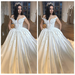 See Through Wedding Dress Crystal Beading Canada - 2018 Princess Ball Gown Wedding Dress See Through Jewel Neck Pearls Beaded Bridal Dresses Elegant Satin Chapel Train Vestidos De Mariee
