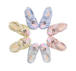 Jelly shoes transparent flats online shopping - Melissa jelly shoes children colorful unicorn sandals girls hollow breathable princess sandals kids transparent crystal beach sandals F5278