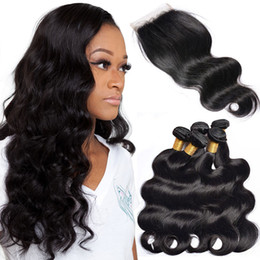 $enCountryForm.capitalKeyWord Australia - Body Wave With Lace Closure 3 Bundles Brazilian Virgin Human Hair Extensions Natural Black 10-28 Inches Double Drawn Virgin Human Hair