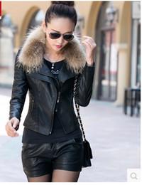 $enCountryForm.capitalKeyWord Canada - 2016 autumn slim fit leather jacket women coat genuine fur collar female short leather motorcycle jacket women's clothing WE934