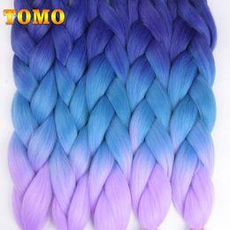 Bulk Hair Braids NZ - TOMO 24Inch 100g pack 2 3 4-tone Ombre Kanekalon Jumbo Braids Hair Extensions Synthetic Crochet Braiding Hair Bulk 1 Pcs Lot