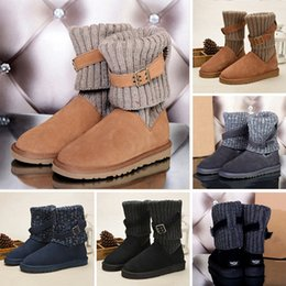 Chinese  2019 WGG 1003175 Sweater Knee Boots Ankle Boots Australia Classic Brand Womens girl Knitting Wool Tie Black Grey Blue Winter Snow Boots manufacturers