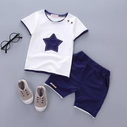 $enCountryForm.capitalKeyWord Canada - Boys clothing set 2018 Summer new fashion 100% cotton with five-star print for 1 2 3 Years old infant clothes 2pcs