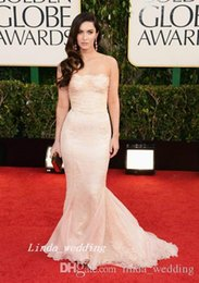 Golden Mermaid Gown Australia - Glamour Megan Fox Celebrity Red Carpet Golden Globes Evening Dress Mermaid Lace Long Formal Party Gown