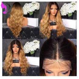 brown blue ombre lace front wig NZ - 22Inch Ombre Wig Glueless three tone brown  Blonde Lace Front Wig With Dark Roots 180% Density Heat Resistant Synthetic Wigs For Black Women