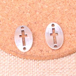 $enCountryForm.capitalKeyWord Australia - 75pcs Antique silver cross connector Charms Pendant Fit Bracelets Necklace DIY Metal Jewelry Making 13*20mm