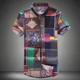 $enCountryForm.capitalKeyWord Australia - Hot Summer Men 'S Slim Casual Linen Printing Flower Short -Sleeve Shirts  Male Flax Fabric Thin Casual Pattern Shirts Free shipping
