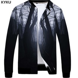 mens clothing rock Australia - KYKU Character Jacket Men Skull Coat Punk Rock Clothes Forest 3d Print Jacket Baseball Vintage Black Mens Clothing Streetwear