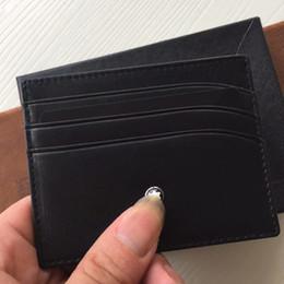 Leather credit card waLLet online shopping - MB ID Card Case Hot sales Super Slim Soft Wallet for men famous brand Genuine Leather Credit Card Holder wallets