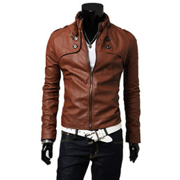 $enCountryForm.capitalKeyWord Australia - YJSFG HOUSE Men Brand Faux Leather Jackets Stand Collar Slim Biker Motorcycle Bomber Short Jackets Male Punk Zipper PU Outwear