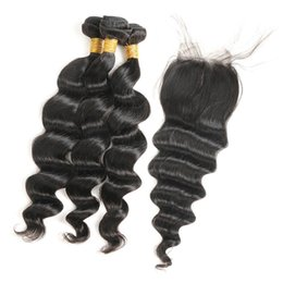 Discount remy hair weft closure - Indian Loose Wave 3 Bundles With Closure 100% Unprocessed Indian Remy Virgin Human Hair Bundles Weave Natural Color Free