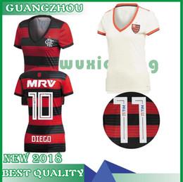 18/19 Camisa de Futebol Flamengo para Mulher 2019 Casa # 10 DIEGO Camisa de Futebol Senhora E.RIBEIRO GUERRERO Fora de moda menina de manga curta uniforme de futebol