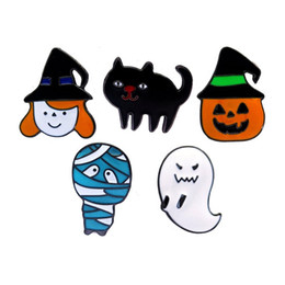 clothing for wedding man 2018 - Halloween Spooky Pumpkin Head Gost Cat Enamel Brooches Pin Small Size Cartoon Badges Cute Lapel Pins for Men Women Child