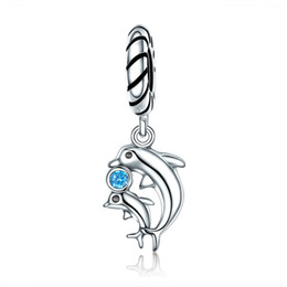 $enCountryForm.capitalKeyWord NZ - Authentic 100% 925 Sterling Silver Dolphins Story with Clear CZ Charms fit Bracelet Necklaces pendant for Women Jewelry MBE264
