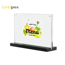magnetic display holders Canada - 29.7*21CM A4 Black bottom T strong magnetic Acrylic Photo Frame Desk advertising sign tag display stand table menu card stand Label Holder
