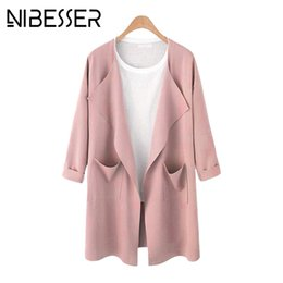 Wholesale NIBESSER Plus Size Women Cardigan Coats With Pockets Trench Coats Fashion Lapel Collar Pink Overcoats Female Long Sleeve XL Z30