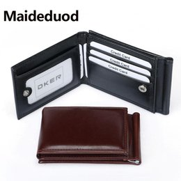 Wholesale Fashion Men Dollar Clip Black Coffee Bright Leather Folds Style Money Clips Clamp With Coin Pocket