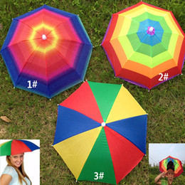 $enCountryForm.capitalKeyWord NZ - 3Colors Foldable Sun Rainbow Umbrella Hat For Adult Children Adjustable Headband Hat Umbrella Hiking Fishing Outdoor Kit ZJ-U01