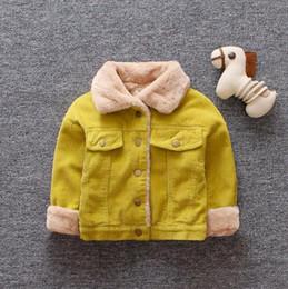 98fd7475b Espesar ropa de invierno Baby Boys Coat forro de felpa chaqueta de la  muchacha prendas de vestir exteriores Turn-down Collar Baby Girl Clothes  otoño Infant ...