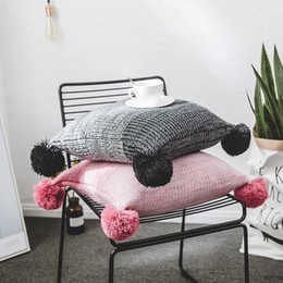 crochet cushion covers 2021 - Knited Nordic style cushion covers in 2 colors red black gradually changing colors blends for home decoration free shipp