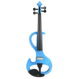 Chinese  Electric 4 4 Violin Silent Pickup Basswood Violin Pegs Fingerboard FULL SIZE VIOLIN SET Blue S manufacturers