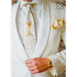 Wholesale tuxedo fabrics resale online - New Design Embossed Fabric Mens Suits Groom Tuxedos Groomsmen Wedding Party men suit Blazer Jacket Pants