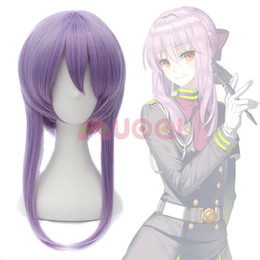 cheap dance lights UK - Ly & CS cheap sale dance party cosplays>>>Seraph of the End Shinoa Hiragi Light Purple Short Braid Temple Cosplay Full Wig