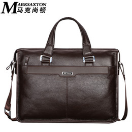 "$enCountryForm.capitalKeyWord NZ - MARK SAXTON Brand Designer 100% Guarantee REAL Genuine Leather Bag 14"" Laptop Bag Perfect Quality Dress Men Business Briefcase"