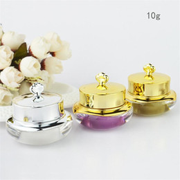 screw eyes Australia - 10g LUXURY Empty Refillable Golden Crown Acrylic Cosmetic Cream Jar Pot Eye Cream Bottle Container -Pack 0123