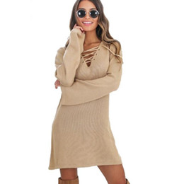 25617f5d606 Fashion Sexy Lace up Knitted Sweater Dress Women Autumn Casual Long Sleeve  Bandage Party Tunic Dresses Vestidos