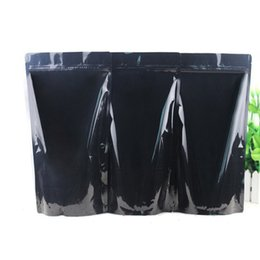 $enCountryForm.capitalKeyWord NZ - 50pcs lot 5 Sizes of Black Glossy Aluminum Foil Stand Up Zip Lock Bag Food Packaging Zipper Pouch seal Retail Package
