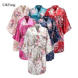 C Fung design Women Floral Satin Robe Bridal Dressing Gown Bachelorette Party  robes Wedding Bride Bridesmaid Kimono Sleepwear c96a4f7fb