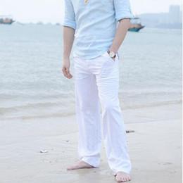 d14955affb Pantalones casuales de otoño de los hombres Nueva alta calidad de algodón  natural pantalones de lino blanco caqui Cintura negra cuerda pantalones  rectos de ...