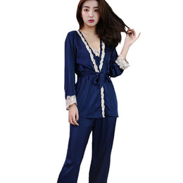 2018 New Rayon Satin Strap Top+Pants+Robe Sleep Set Women 3PCS Sleepwear  Sexy Home Clothes Floral Trim Pajamas Pijamas M-XL 1ad41e649