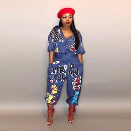 87c827a19c33 Summer Sexy Letter Printed Jumpsuit Outfits Women Short Sleeve V-Neck Jumpsuits  Rompers Black Plus Size S-3XL