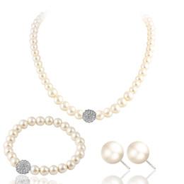 Опт Свадебный свитер цепи ожерелье набор дикий жемчуг ожерелье серьги браслет набор