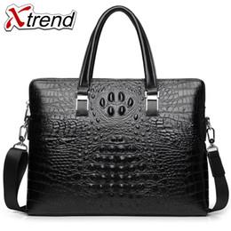 Discount simple men bags - Xtrend Promotion Simple Alligator Business Men Briefcase Bag Luxury Leather Laptop Bag Man Shoulder bolsa maleta