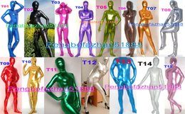 Xl Full Body Suits Australia - Unisex Full Body Suit Outfit New 15 Color Shiny Lycra Metallic Suit Catsuit Costumes Unisex Bodysuit Costumes Halloween Cosplay Suit P223