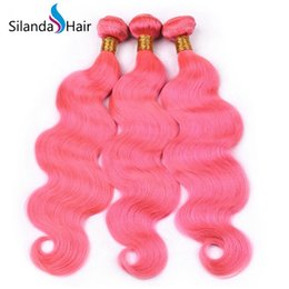 $enCountryForm.capitalKeyWord NZ - Silanda Hair Pure Pink Dyed Body Wave Hair Weft Weaves Brazilian Remy Human Hair Weaving Bundles 3pcs per pack Free Shipping